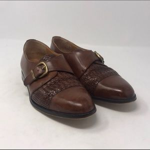 Mezlan brown woven leather loafers with buckle